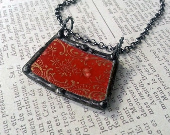 Broken Plate Pendant, Soldered China Dish, Broken Dish Jewelry, Vintage Red and Gold China Pattern, Artisan Made Necklace