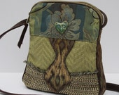 SMALL SHOULDER BAG Fabric and Leather Flower Fairy