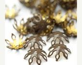 50% Off Sale Vintage Findings Bead Caps Pronged Brown Enamel 12mm (8) VFI051