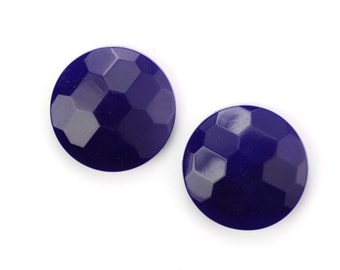 Vintage Cabochons Glass Navy Blue Faceted 18mm (2) VGC470