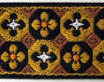 2 yards FLORAL MOSAIC vintage Jacquard trim in mustard, tan, white, peach on black. 1 1/2 inch wide. V31-E