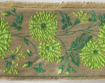 3 yards KIMONO KIKU Flowers Jacquard trim apple green, emerald green on gold. 1 5/8 inch wide.  2024-A