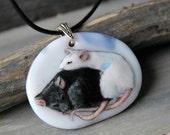 Rats necklace -  fused glass pendant - sleepy rat  jewelry