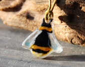 Cute Honey bee necklace  - fused glass pendant