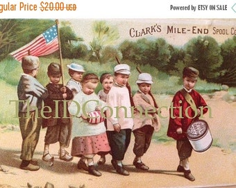 Sale Victorian Trade Card, Clarks Mile End Spool Cotton Advertising Card, USA Parade, Children, March, Drummer Boy
