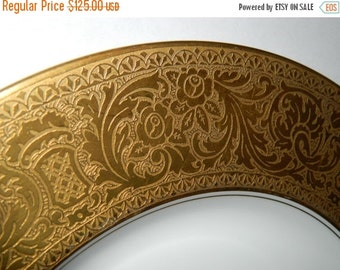 ON SALE 1911-1930's Vintage Heinrich & Co, SELB Bavaria Germany Dinner Plate, Gold Encrusted,  Beautiful Gold Trim Plate