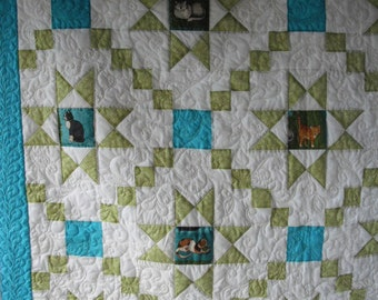 Cats and Stars Quilt - Turquoise and Green- Tops a Queen size
