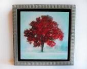 Winter greets autumn, Framed 10x10 inches, tree, tree art, art, original art, nature decor, wall art, signore