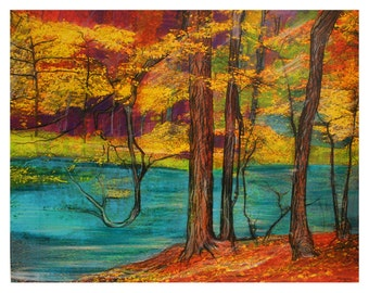 Faery woods, Art, 16x20 inches, nature decor, trees, woods, ponds, tree art, Signore, #Fairy #autumn pond #woodland wedding gift