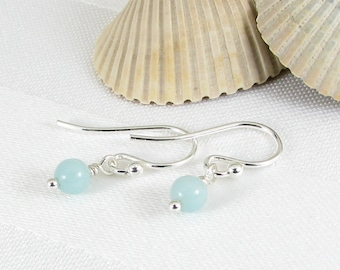 Very Tiny Amazonite and Sterling Silver Earrings