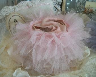 vintage childs ballet tutu pants, dance costume, old tulle ruffled panties, fabulous pink