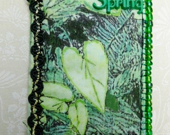 Tiny Art Quilt Spring ATC Heart Shaped Green Leaves