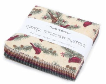 """CARDINAL REFLECTION Flannel 42 Pc 5"""" Charm Pack by Moda"""