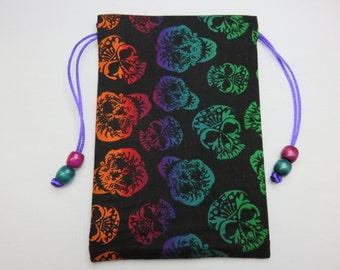 """Día de los Muertos Sugar Skulls Silk Lined Tarot Bag, Tarot Pouch, Handmade 4.75"""" x 7"""""""