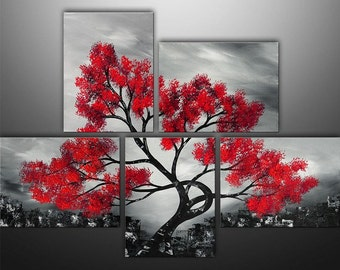 Abstract Painting, Large Painting, Asian Painting, Tree Painting, Canvas Art, Wall Decor, Gabriela, Black White Red, Wall Art, Made To Order