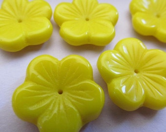 Vintage Glass Beads (5) Large Lemon Yellow Flower Beads