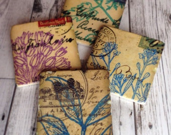 Warm Botanical stone coasters