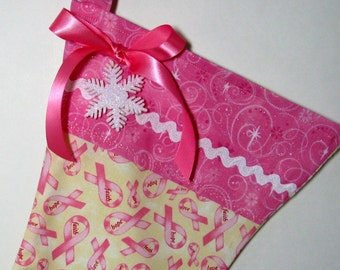 Pink Breast Cancer Christmas Stocking BC Awareness Gift