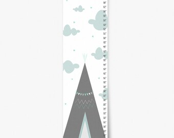 Growth Chart, TeePee Growth Chart, Gray and Mint Growth Chart, Custom Growth Chart, Custom Mint Growth Chart, Canvas Growth Chart