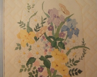 QUILTED IRIS Arbor Picture Complete Kit Counted Cross Stitch Lovely Colors Yellows Blue