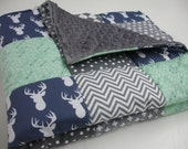 Gentle Deer Mint Navy Gray Arrows Minky Blanket You Choose Size and Minky Color MADE TO ORDER