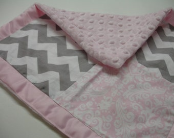 Pink and Gray Damask and Chevron with Satin Border Baby Burp Cloth with Minky 12 X 12 READY TO SHIP