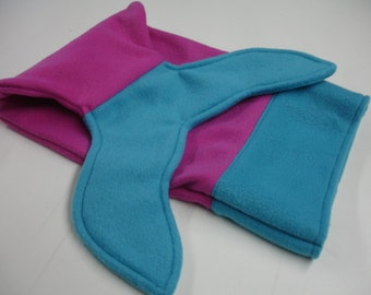 Mermaid Tail Turquoise and Fuschia Fleece DOLL INFANT BABY Size 10 X 18 Ready to Ship On Sale