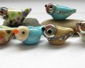 6 handmade lampwork artisan glass birds paulinabeads ivory silver turquise purple