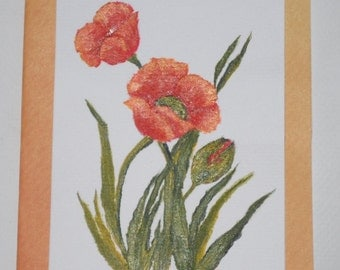 Poppies Card Hand Painted Poppies Card