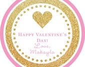 Valentine's Day Gold Glitter Pink Heart round sticker label / cupcake topper / thank you tags for birthday party, baby shower, PERSONALIZED