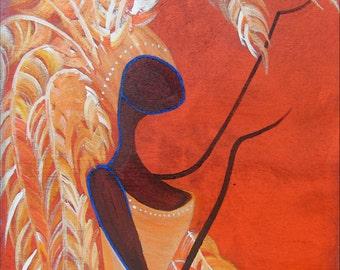 Orange Feather Lady - Fine Art PRINT - Wall Art - Shelf, Mantle and Desk Decor