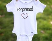 Sorpresa! Spanish Pregnancy Announcement Baby Announcement for Facebook Pregnancy Reveal to Grandparents Newborn Clothes Baby Shower Gift