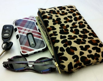 Leopard Clutch - Leather Clutch - Animal Print Clutch - Hair on Hide Real Leather Clutch
