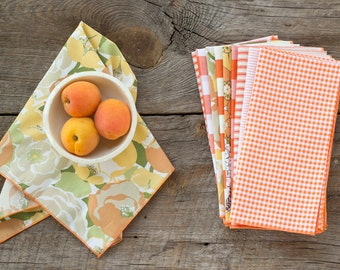 Color Block Kitchen Starter Set in Orange- 20 Cloth Napkins by Dot and Army