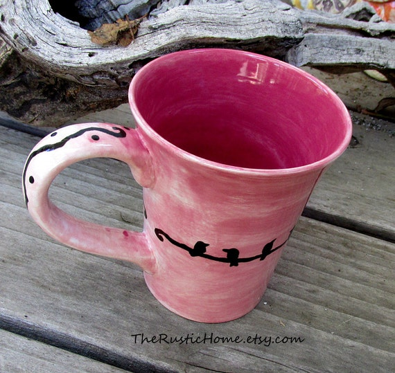 Custom Pottery mug birds on a wire you choose background color urban design modern bird mug personalized or not made to order rustic pottery