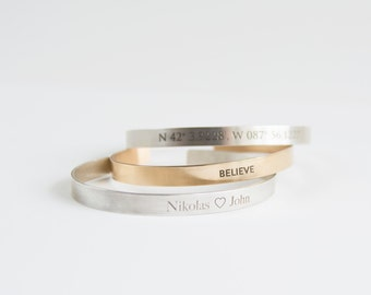Pesonalized Cuff Bracelet in Gold Fill or Sterling Silver Inspirational Stackable Cuff Bracelet Laser Engraved Message Mother's Day Gift