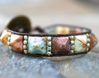 Pyramid Beaded Leather Wrap Bracelet, Handmade, Boho Bracelet, Womens Leather Jewelry, Beaded Wrap Bracelet, Multi Colors