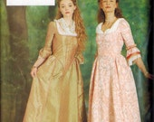 OOP BEAUTIFUL Georgian or Colonial Dress Gown Pattern Empire Waist Butterick 6867 Sizes 6-8-10 Uncut with Scarf