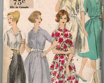 1960 Vogue 9972 Retro Shirt Dress Sewing Pattern Vintage Size 12