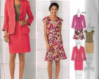 OOP Womens Pattern Simplicity 2263 Career Wear Sizes 8-10-12-14-16 Threads Collection Step by Step Sewing Skirt Blazer