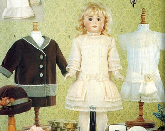 Vogue 7350 730 American Girl 18 Inch Doll Dress Sewing Pattern Lots of Options 1920s 1930s styles Dress Bloomers Slip Coat