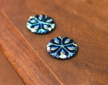 Black with Iridescent Snowflake Etched Czech Glass Cabochon 18mm (2) cab480L