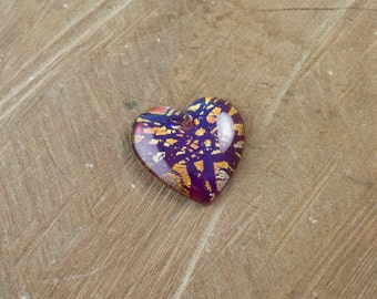 Vintage Mexican Opal Glass Heart Pendant with Gold Foil pnd011A