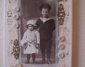 On Sale~~CANVAS ART~VICTORIAN Boy and Girl Photo Copy~Boy in Sailor Suit~Altered Art~Mixed Media~Collage~Vintage Lace/Buttons