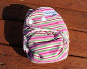 Final Clearance: XS/NB Candy stripes organic bamboo fitted cloth diaper