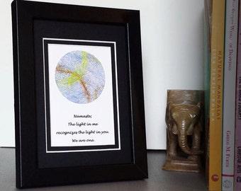 Gift for Yogi Namaste Sign Spiritual Art Yoga Studio Artwork Inspirational Boho Decor Zen Centering Mandala  5x7 Framed