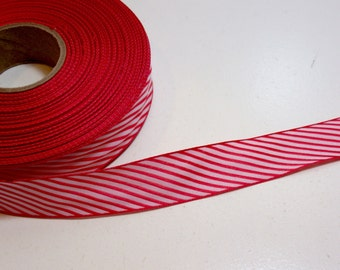 Red Ribbon, Red and White Diagonal Stripe Polyester Ribbon 7/8 inch wide x 10 yards