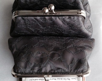 Charcoal Lace Clutch
