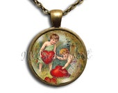 Cherub Mending Hearts Glass Dome Pendant or with Chain Link Necklace HD101