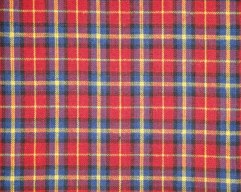 Homespun Material Cotton Material Quilt Material Craft Material Home Decor Material Medium Plaid Red Royal Yellow Black 1 Yard
